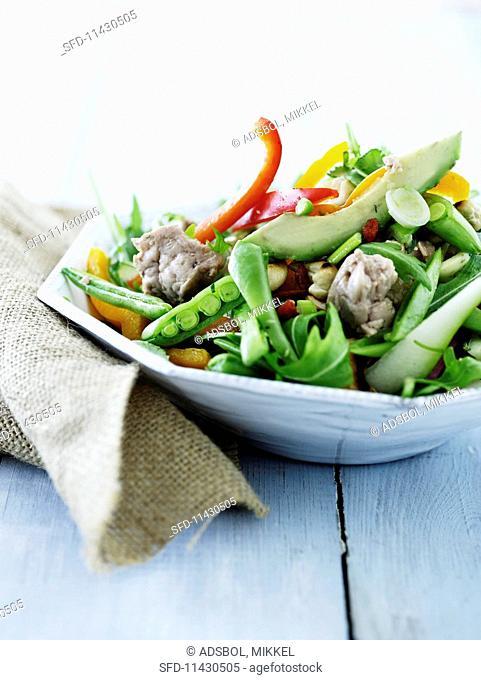 vegetable salad with cod liver