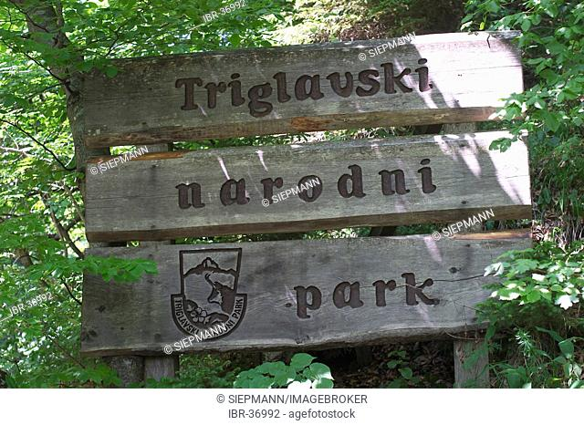Signboard Triglav National Park at Vintgar Gorge near Bled - Slovenia