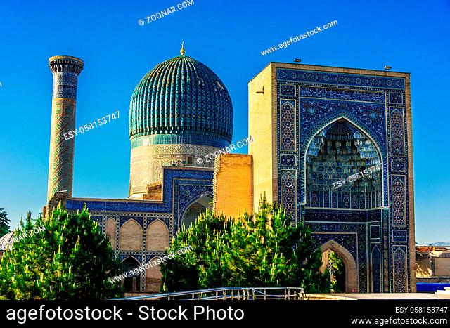 Gur-e-Amir or Guri Amir (Tomb of the King), a mausoleum of the Asian conqueror Timur in Samarkand, Uzbekistan