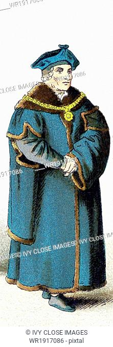 The figure pictured here represents Chancellor Sir Thomas More in 1535. More was an English lawyer, social philosopher, author, statesman =
