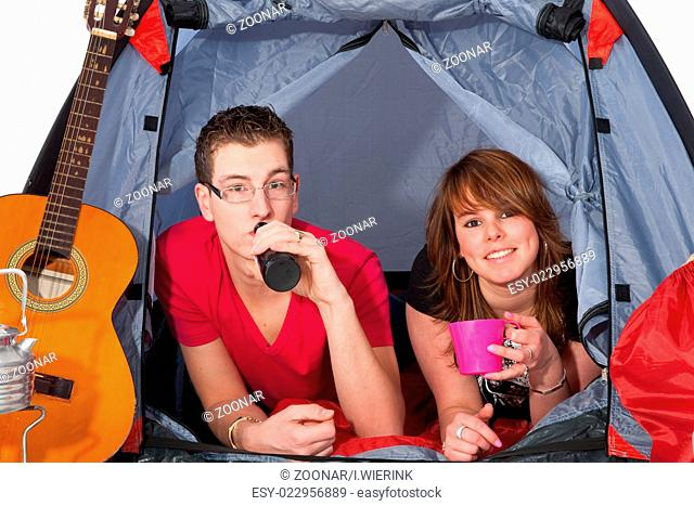 Young couple in a tent