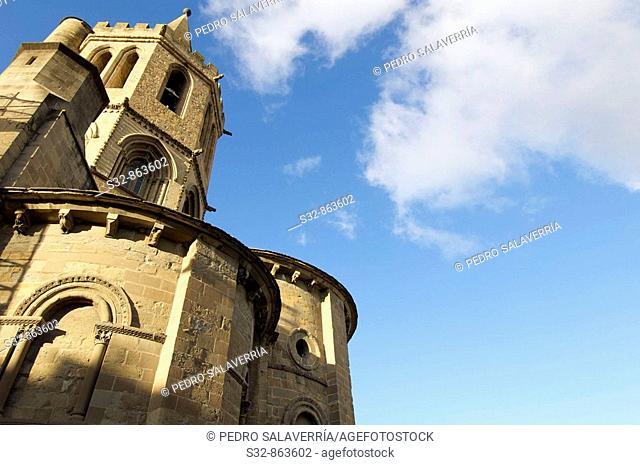 Iglesia de Santa Mari'a la Real (roma'nico - siglo XII); Monumento Nacional (1889); Sangu¨esa; Navarra; Espan~a