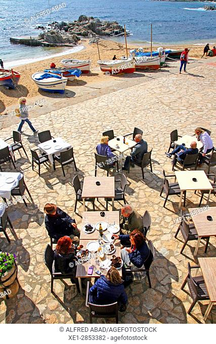 Terrace of bar, Calella de Palafrugell, Costa Brava, Catalonia, Spain