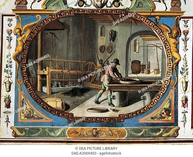 The manufacturing of gunpowder and grotesque, paintings in tempera with gold touches, by Ludovico Buti (1560-1610). Vault of Room 23, Armory, Uffizi Palace