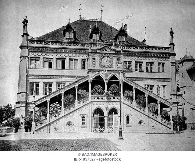 One of the first autotype prints, town hall of Bern, Berne, historic photograph, 1884, Switzerland, Europe