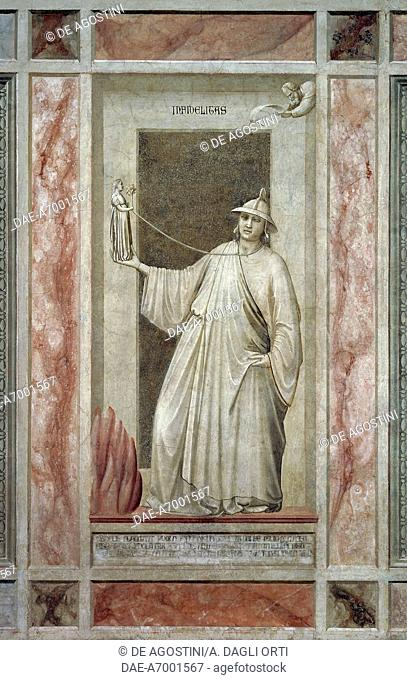 Faithlessness (also called Idolatry), male figure turning away from God and holding an idol that keeps him tied at the neck, by Giotto (1267-1337)