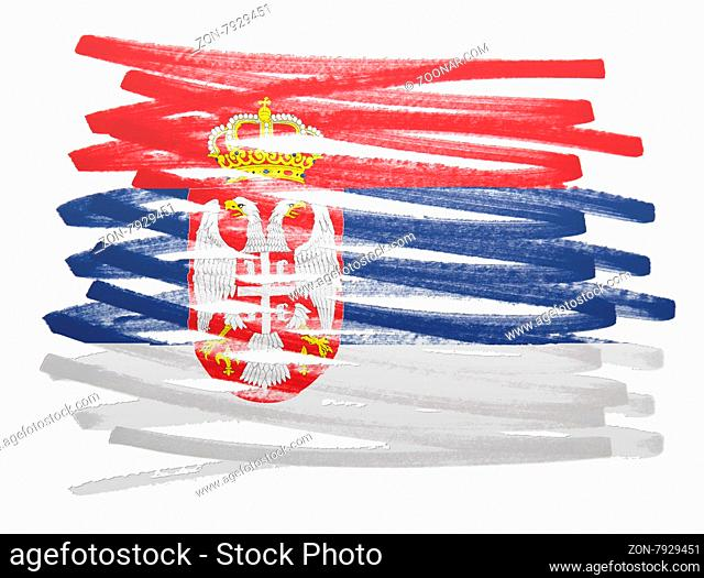 Flag illustration made with pen - Serbia