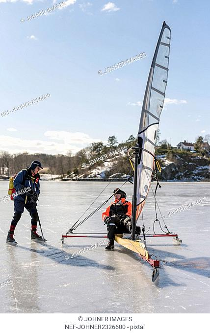 Senior men on ice