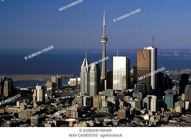 Aerial of Downtown Financial District, Toronto, Ontario, Canada