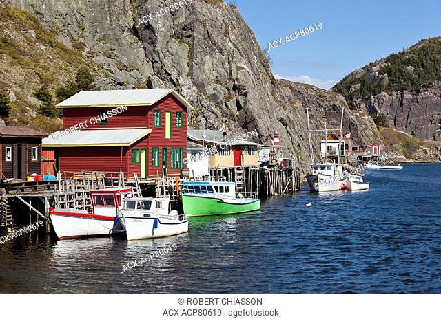 Narrow channel of water between Quidi Vidi Lake and the Atlantic Ocean, Quidi-Vidi Gut is lined with fishing sheds (or stages) on stilts that are still used...
