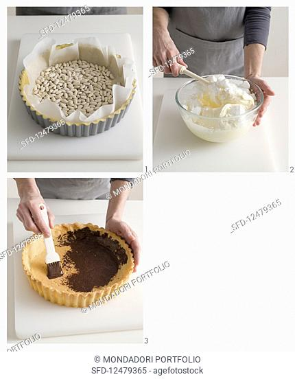 A tiramisu cake being made