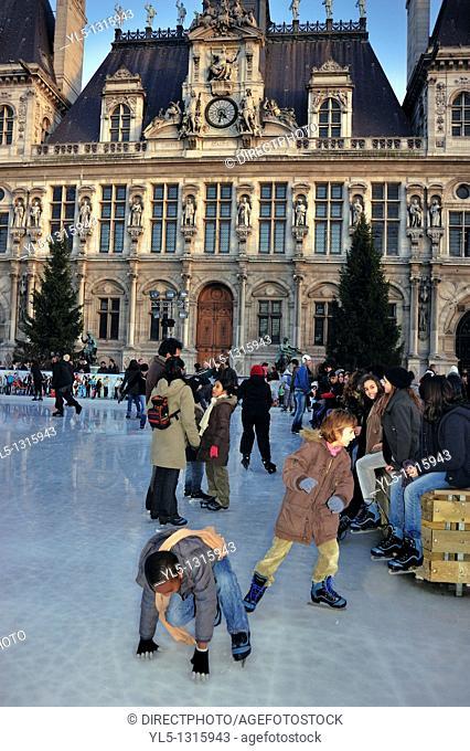 Paris, France, Ice Skaters on Ice Skating Rink at Paris City Hall Building, H-tel de Ville