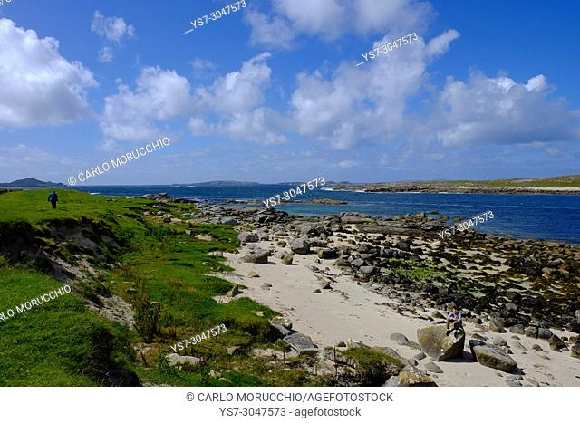 Strand at Omey Island during the low tide, Connemara, County Galway, Ireland, Europe