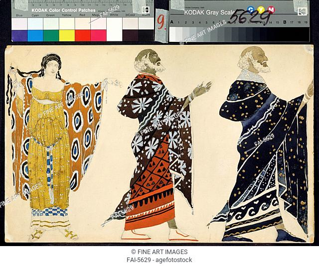 Costume design for drama Oedipus at Colonus by Sophocles. Bakst, Léon (1866-1924). Watercolour on paper. Theatrical scenic painting. 1904