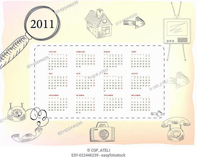 Template for calendar for 2011