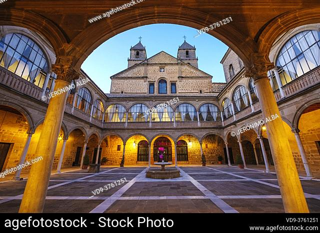 Inner courtyard of Santiago Hospital by architect Andres de Vandelvira, Ubeda, UNESCO World Heritage Site. Jaen province, Andalusia, Southern Spain Europe
