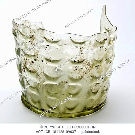 Fragment of stand ring, bottom and part wall of waffle cup, beaker drinking glass drinking utensils tableware holder soil find glass