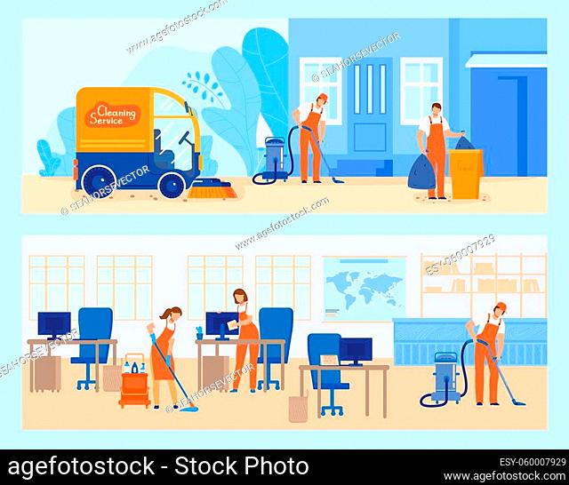 Cleaning service vector illustration. Cartoon flat worker people team mopping, vacuuming and sweeping floor at modern office