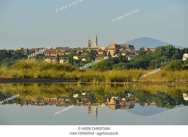 Europe, mediterranean, italian, Italy, Tuscany, Siena Province, Pienza, village, city, hillside, stucco, golden hour, lake, reflection, mirror, mountain