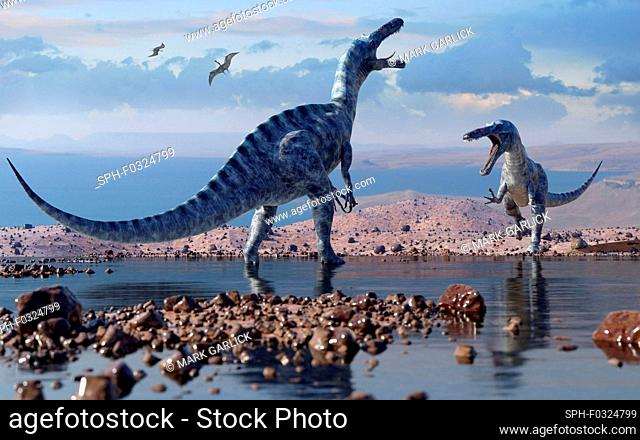 Illustration of a pair of suchomimus dinosaurs. This bipedal spinosaurid dinosaur is known from fossils discovered in the Sahara in 1998