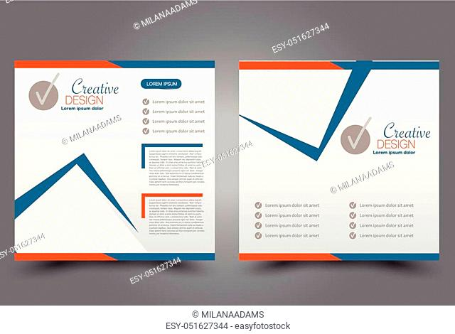 Square flyer template. Brochure design. Annual report poster. Leaflet cover. For business and education. Vector illustration. Blue and orange color