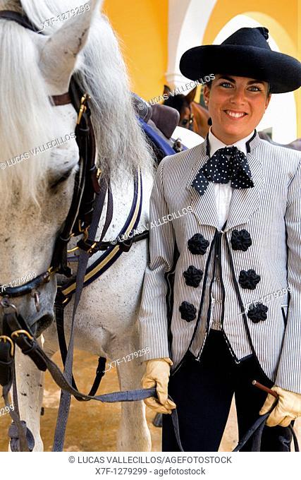 horsewoman of Royal Andalusian School of Equestrian Art  `Real Escuela Andaluza Del Arte Ecuestre'  Jerez de la Frontera  Cádiz province, Andalusia, Spain