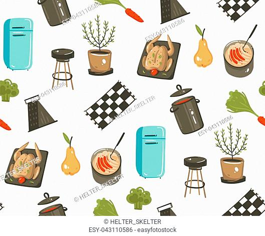Hand drawn vector abstract modern cartoon cooking time fun illustrations icons seamless pattern with cooking equipment,,food and kitchen utensils isolated on...