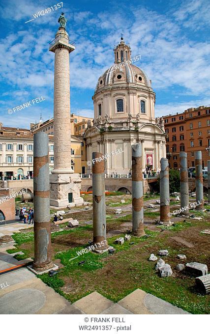 Trajan's Column and Forum, Dome of St. Maria di Loreto, UNESCO World Heritage Site, Rome, Lazio, Italy, Europe