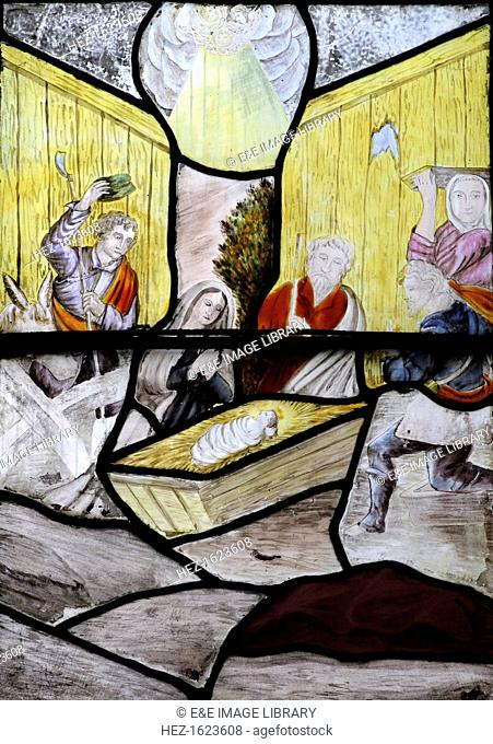 The Nativity, stained glass window, Wymondham Abbey, Norfolk
