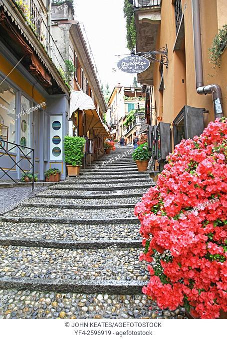 The narrow picturesque street of Salita Serbelloni Bellagio Lake Como Italy in the Italian region of Lombardy