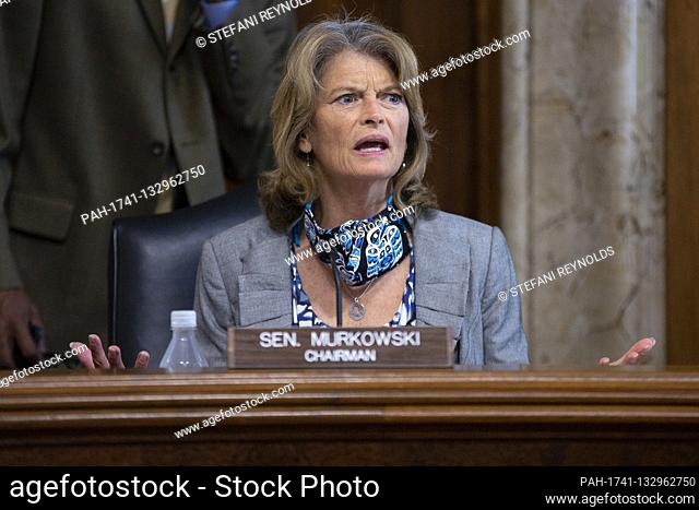 United States Senator Lisa Murkowski (Republican of Alaska) speaks during a business meeting of the United States Senate Committee on Energy and Natural...