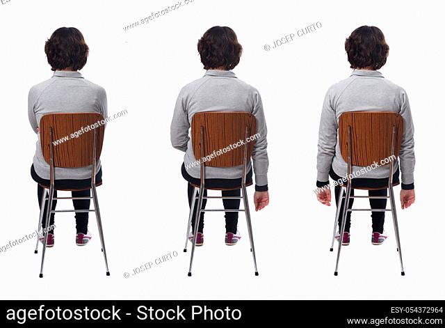 woman sitting in different ways on white background