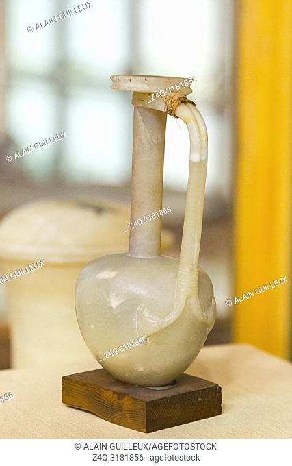 Egypt, Cairo, Egyptian Museum, from the tomb of Yuya and Thuya in Luxor : Vase in alabaster, with a handle in the form of two papyrus flowers