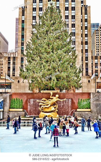 People Ice Skating at the Rockefeller Center, New York City, Rink, Near the Christmas Tree in the Background