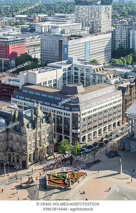 Aerial photograph of Birmingham City Centre, England. Victoria Square