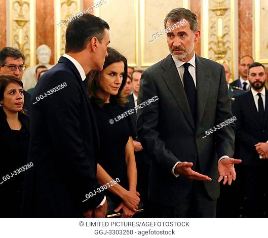 King Felipe VI of Spain, Queen Letizia of Spain attends Alfredo Perez Rubalcaba Funeral Chapel In Madrid at Congreso de los Diputados on May 10, 2019 in Madrid