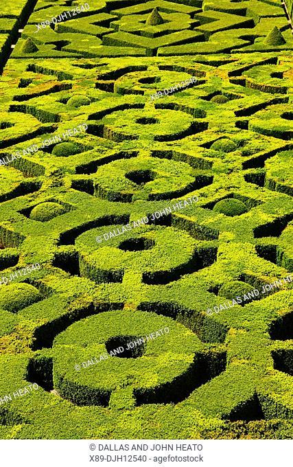 France, Dordogne Valley, Aquitaine, Château de Hautefort, Patterned Garden of Castle grounds