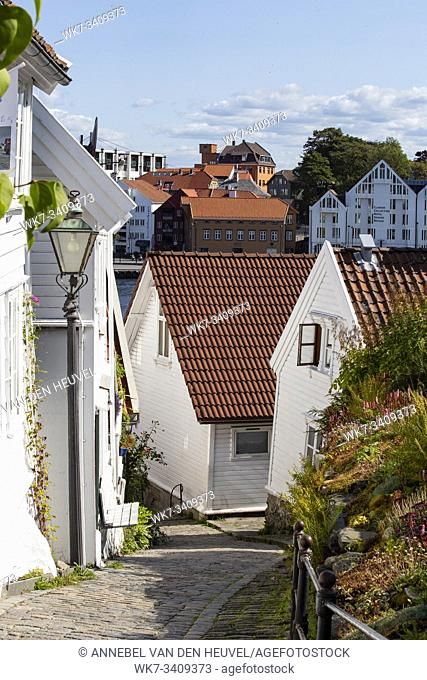 Old Stavanger town in Norway September 2018, Traditional white houses close-up