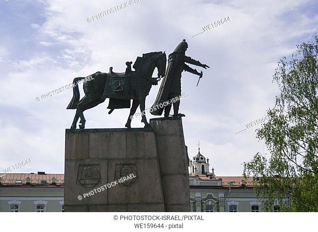 Equestrian statue of Gediminas in Cathedral Square, Vilnius, Lithuania