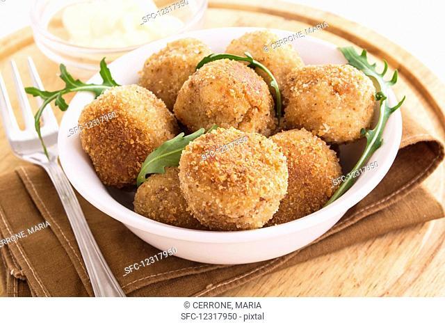 Vegetarian cauliflower balls in a bowl