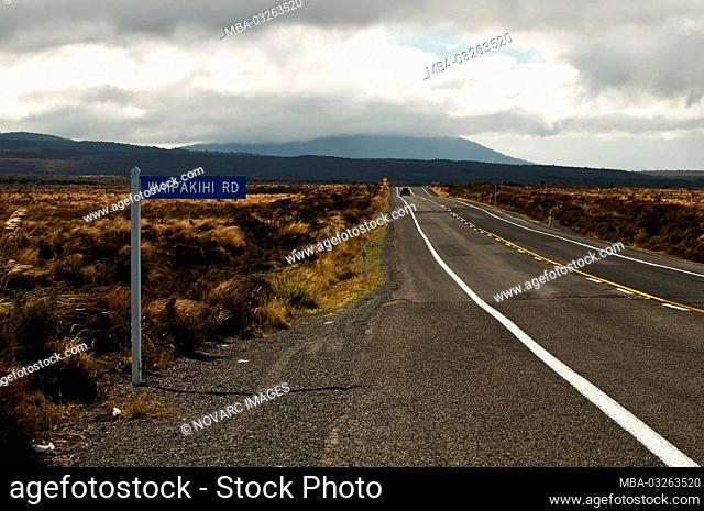 Road sign on State Highway 1 in the Rangipo Desert, southern Lake Taupo, New Zealand