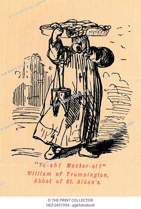 'Ya-ah! Macker-el! William of Trumpington, Abbot of St. Alban's', c1860, (c1860). From The Comic History of England, Volume I, by Gilbert A A'Beckett [Bradbury