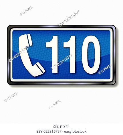Rettungszeichen mit Notrufnummer 110
