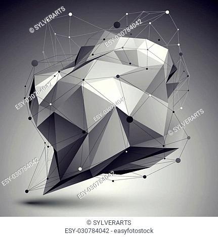 Geometric vector abstract 3D complicated lattice backdrop, single color eps8 conceptual tech illustration