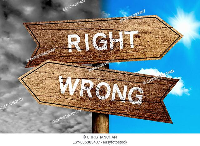 Right Or Wrong concept road sign with cloudy and sunny sky background