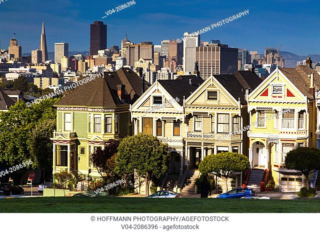 Skyline of San Francisco with the famous houses 'Painted Ladies' in the foreground, California, USA