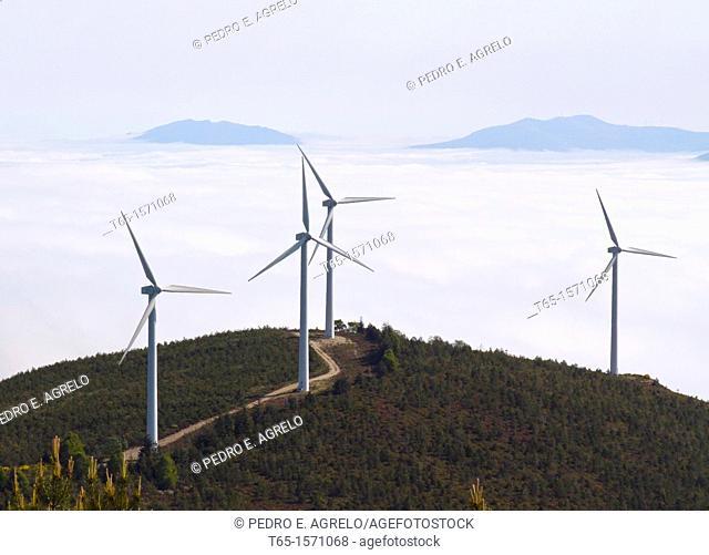Wind turbines in the mountains of Lugo in Fonsagrada
