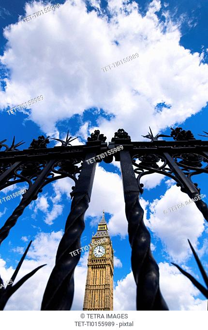 UK, London, Big Ben behind fence