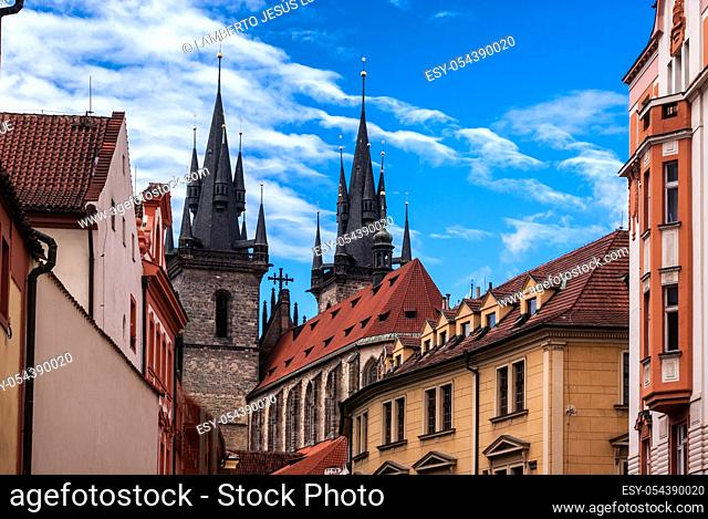 Astronomical Clock and Church of Our Lady before Tyn in the Old Town of Prague, Czech Republic