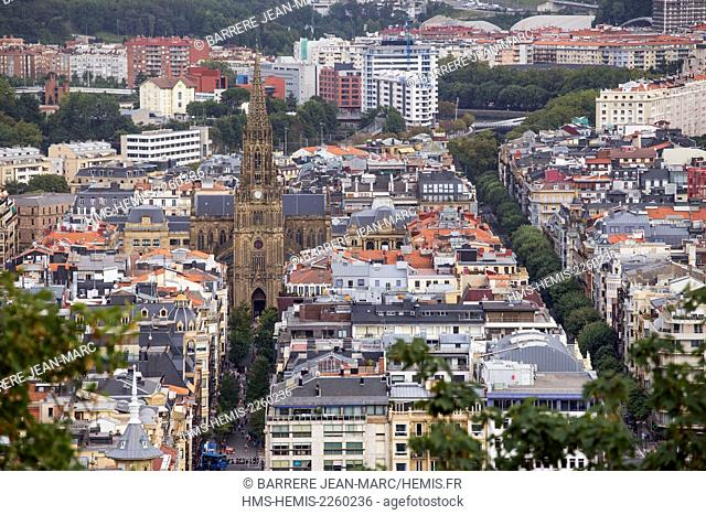 Spain, Basque Country, Guipuzcoa province (Guipuzkoa), San Sebastian (Donostia), European capital of culture 2016, Buen Pastor cathedral view from Urgull Mount